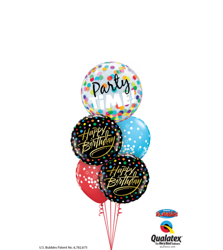 Birthday Time Party Time (Black) Cheerful Bubble Balloon Bouquet