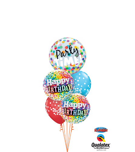 Birthday Time Party Time (White) Cheerful Bubble Balloon Bouquet