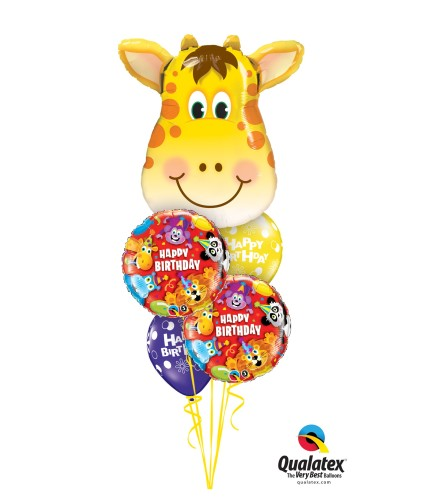 Happy Birthday Giraffe Cheerful Balloon Bouquet