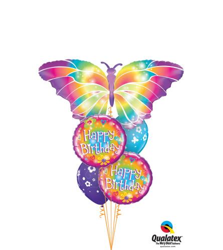 Luminous Butterfly Birthday Cheerful Balloon Bouquet