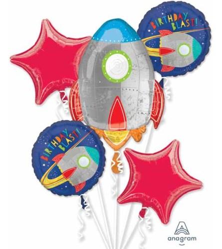 Blast Off Birthday Super Fun Foil Balloon Bouquet