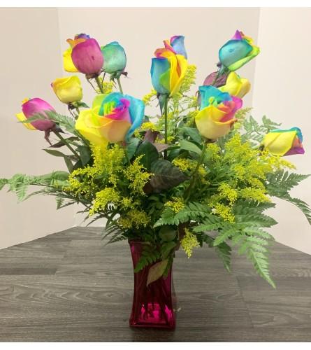 Rainbow Roses Arrangement
