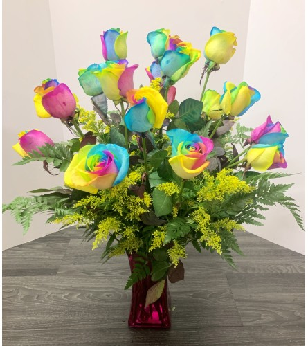 Rainbow Roses Arrangement