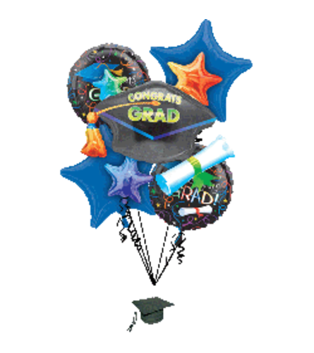 Congrats Grad Stars Super Fun Foil Balloon Bouquet