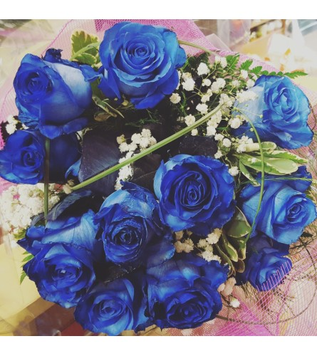 Dozen Blue Roses Wrapped
