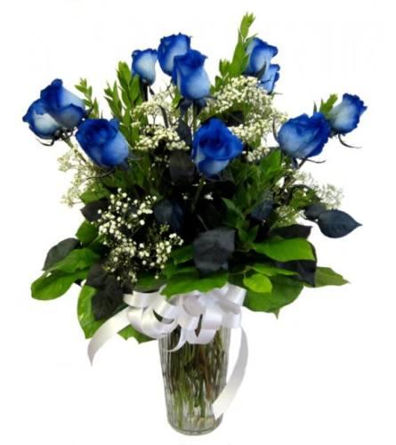 Dozen Blue Roses in Vase