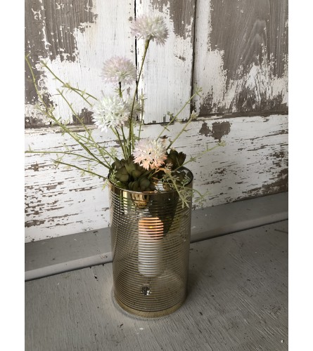 Golden Votive with Greens and Candle