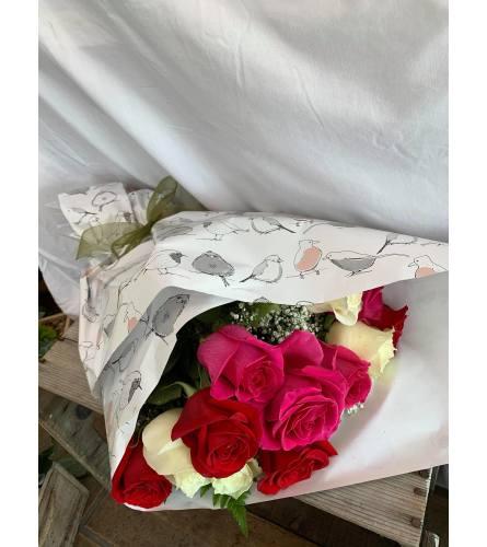 One Dozen Mixed Roses Bold Colours
