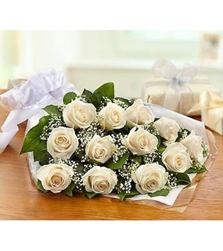12 White Roses Wrapped or in a Vase