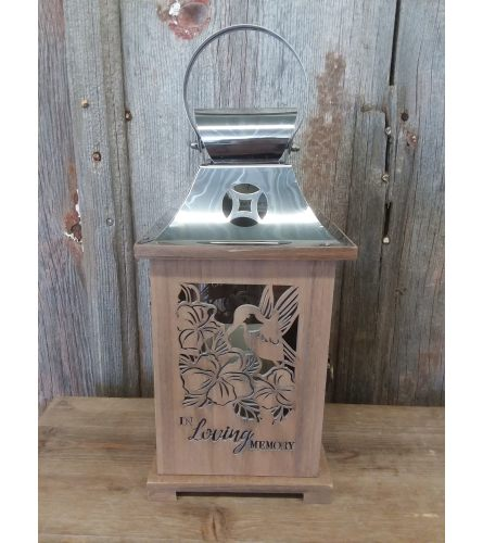 Lantern Carved Wood 'In Loving Memory'