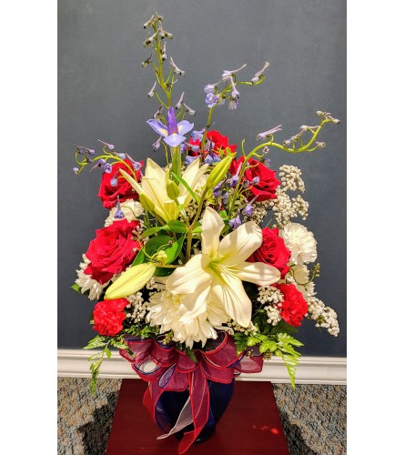 Red White & Blue Garden Vase