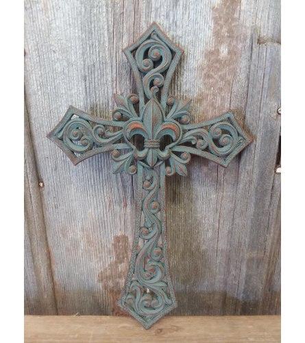 Cross 'Fleur de  Lis Medallion'