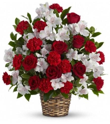 Beauty and Devotion Bouquet Basket Arrangement
