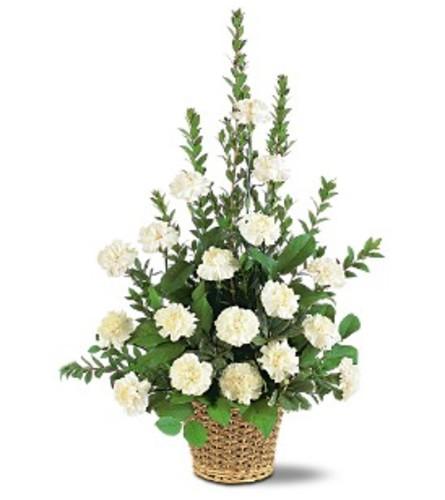 White Simplicity Basket Arrangement
