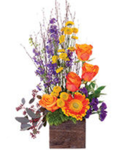 Rustic Wooden Box of Blooms