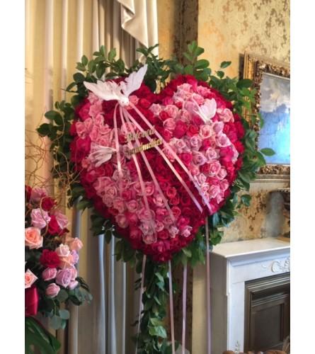 Bleeding Heart of Assorted Pink Roses