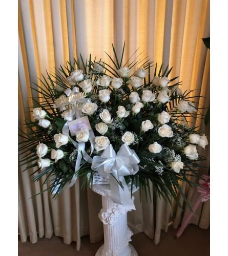 Wicker Basket of White Roses