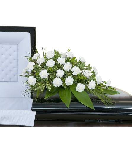 White Simple Love Casket Spray