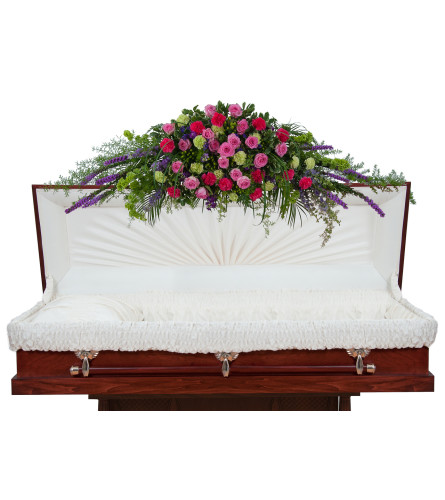 Colorful Forever Cherished Casket Spray