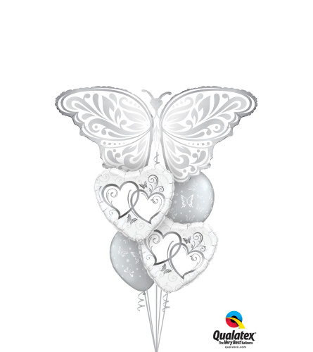 Silver Butterfly Hearts Cheerful Balloon Bouquet