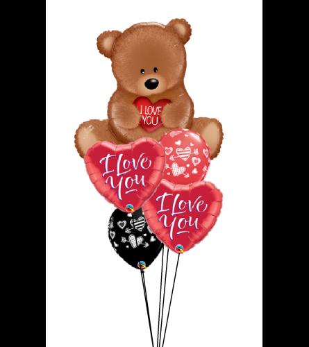 Teddy Bear Love Cheerful Balloon Bouquet