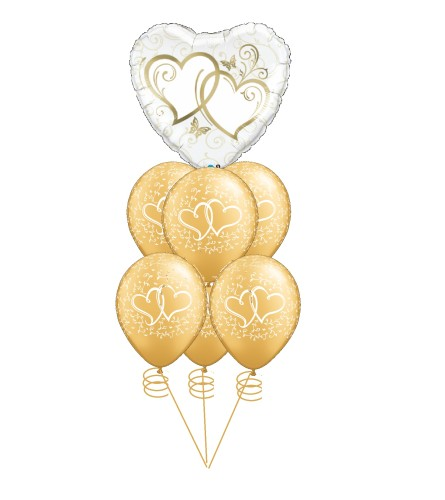 Hearts Aflutter Gold Awesome Balloon Bouquet
