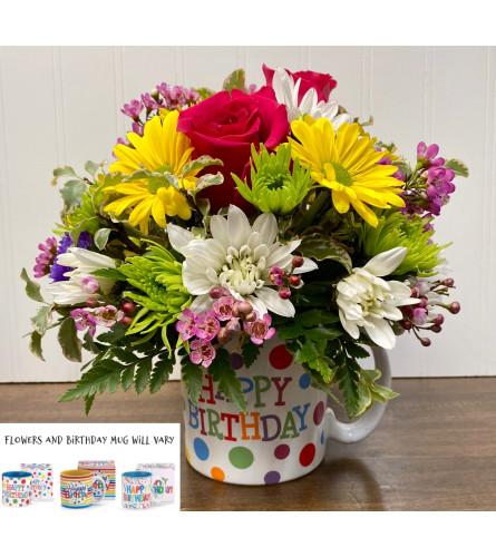 Happy Birthday-Mug with Flowers