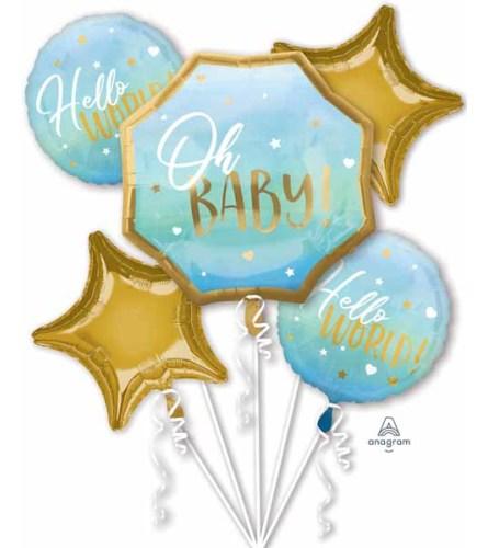 Hello Baby Boy! Super Fun Foil Balloon Bouquet