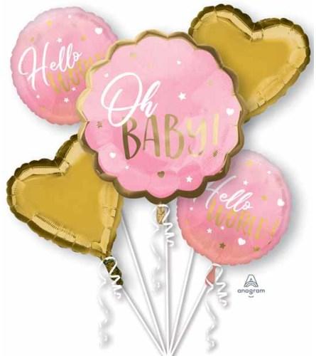 Hello Baby Girl! Super Fun Foil Balloon Bouquet