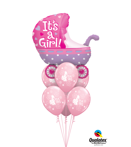 Baby Girl Stroller Awesome Balloon Bouquet