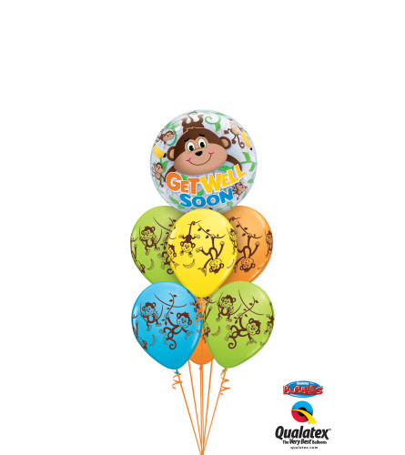 Get Well Soon Monkey Bubble Balloon Bouquet