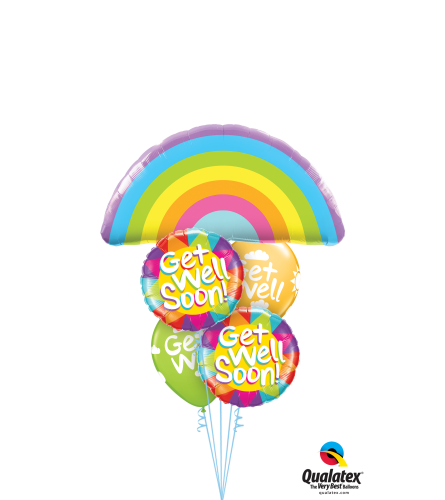 Get Well Rainbows Cheerful Balloon Bouquet