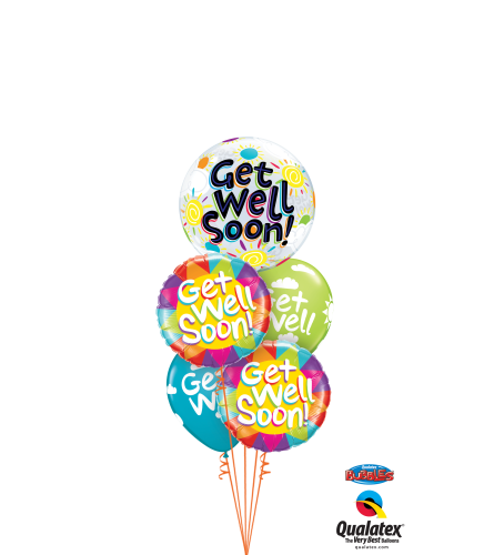 Get Well Soon Cheerful Bubble Balloon Bouquet
