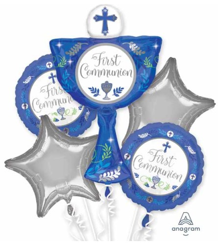 First Communion Blue Super Fun Foil Balloon Bouquet