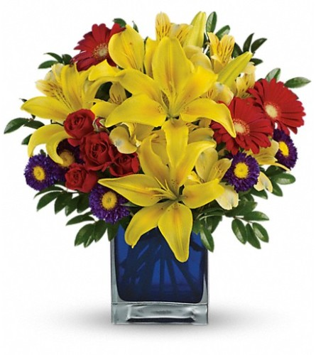 Blue Caribbean Bouquet from Teleflora at Bow River Flower Atellie