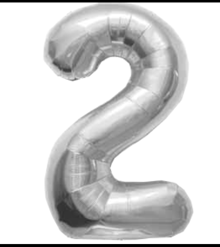 "34"" Silver Number 2 Balloon"