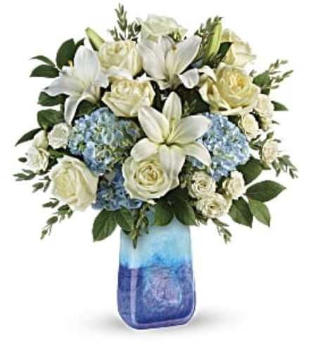 Teleflora's Ocean Sparkle Bouquet at Bow River Flower Atelier