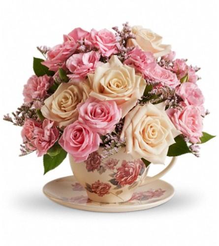 Teleflora's Victorian Teacup Bouquet by Bow River Flower Atelier