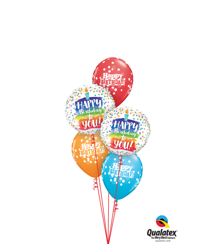 Rainbow Cake and Dots Birthday Classic Balloon Bouquet