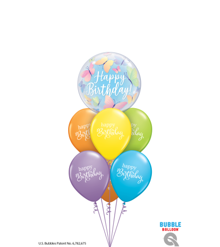 Birthday Butterflies & Best Wishes Bubble Balloon Bouquet