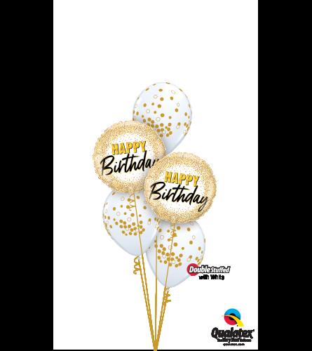 Glittering & Glimmering Gold Birthday Classic Confetti Balloon Bo