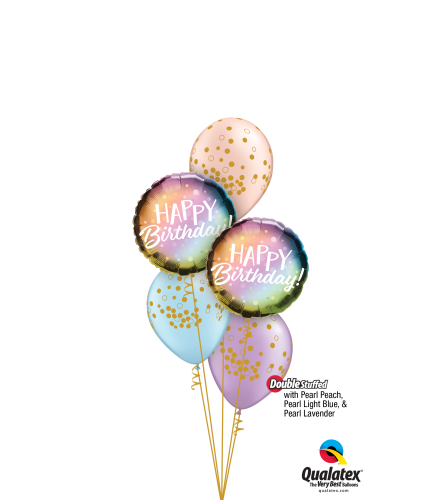 Pearly Whirly Birthday Classic Confetti Balloon Bouquet