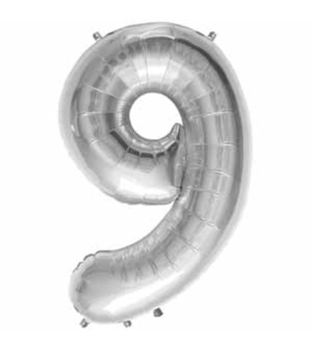 "34"" Silver Number 9 Balloon"