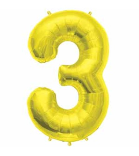 """34"""" Gold Number 3 Balloon"""