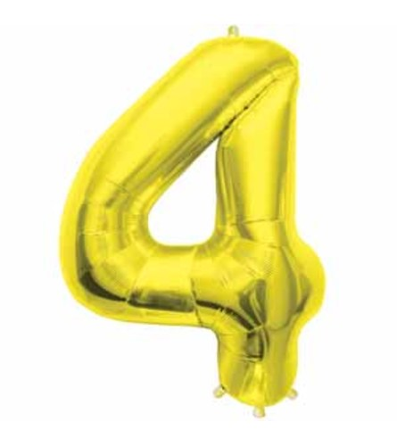 "34"" Gold Number 4 Balloon"