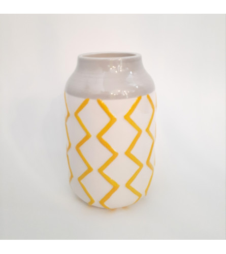 Yellow Zigzag Vase