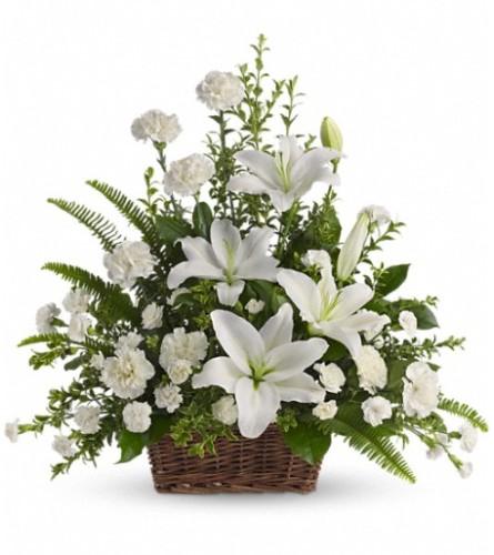 Peaceful White Lilies Basket Teleflora