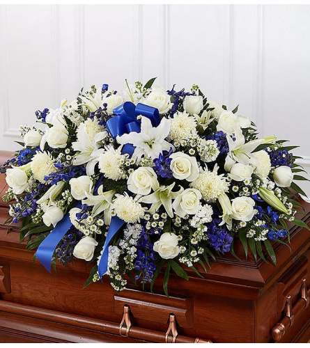 Blue and White Mixed Flower Casket Spray