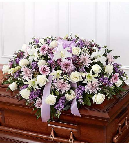 Lavender and White Mixed FlowerCasket Spray