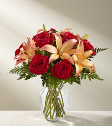 The FTD Fall Fire Bouquet Vase Arrangement